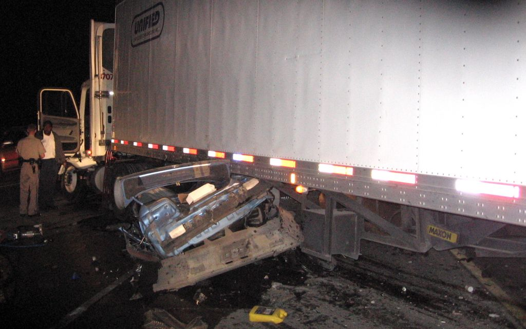 Crash Involving Truck and Vehicle