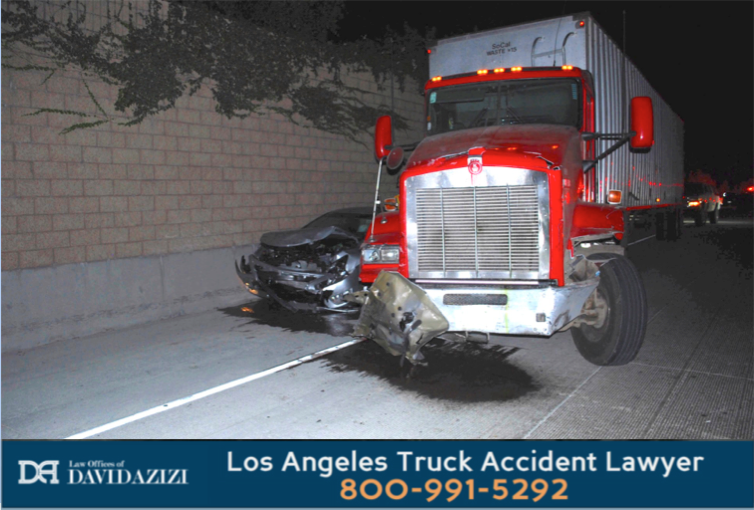 Car Hit and Pinned By Truck - Law Offices of David Azizi