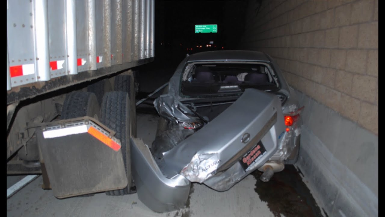 Image of car accident with car and truck