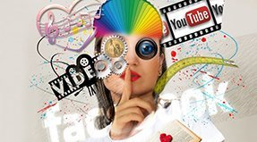 "A composite image showing a woman ""shushing"" along with the words Vibe, Facebook and youTube."
